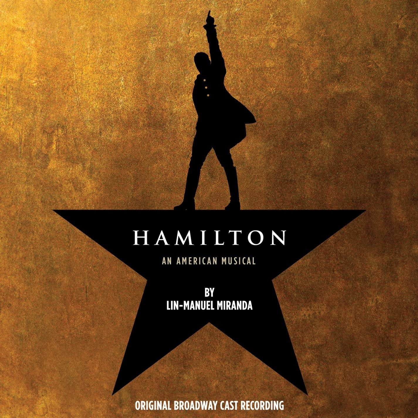 album cover of Hamilton with the silhouette of Hamilton standing on a star, making the top point of it