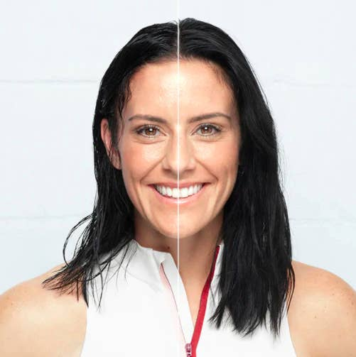 A split screen of a person with damp hair and an after with their hair looking refreshed