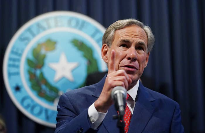 Gov. Greg Abbott speaks during a news conference