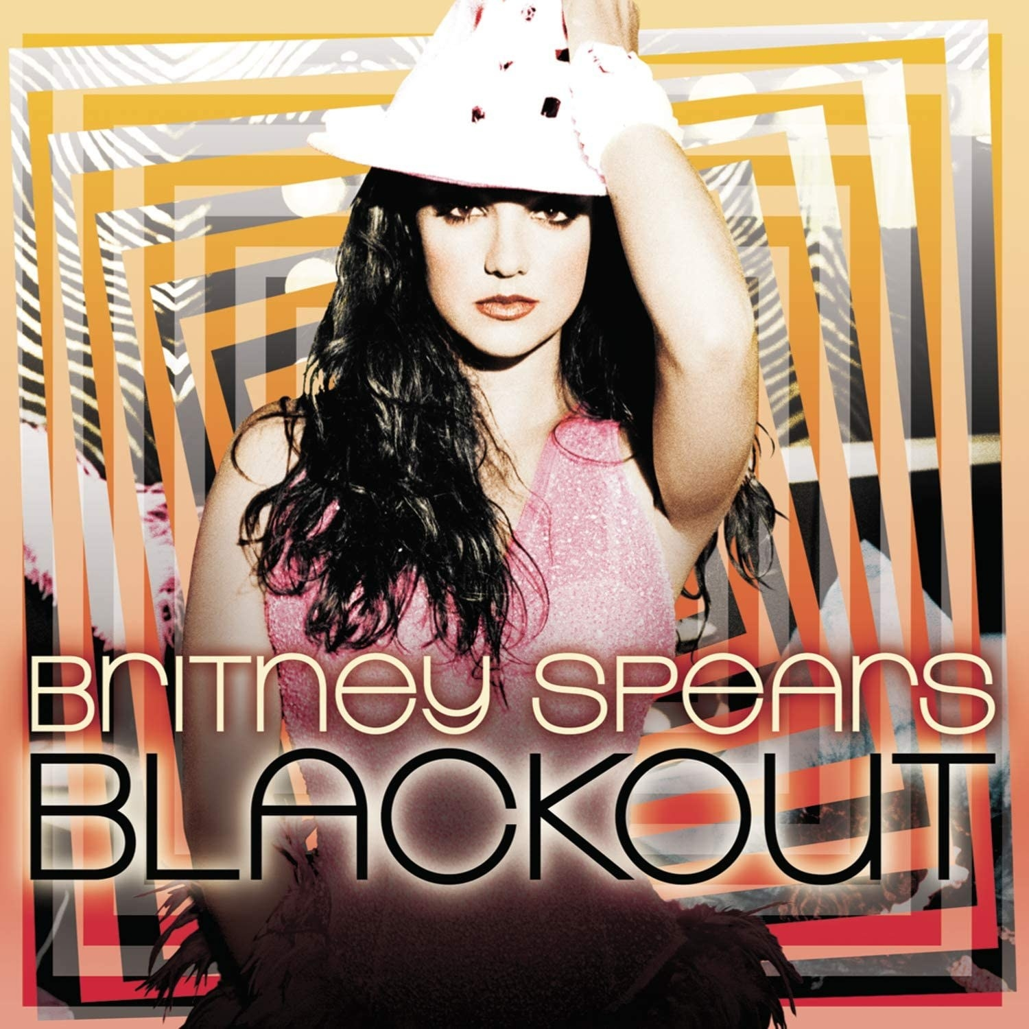 album cover of Blackout showing Britney Spears looking at the camera while wearing a fedora