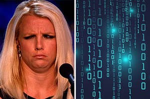 On the left, Britney Spears furrows her brows in confusion, and on the right, a bunch of 1's and 0's
