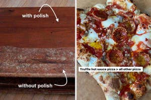 on left, wooden dressed before and after being treated with polish and on right, pizza with hot sauce