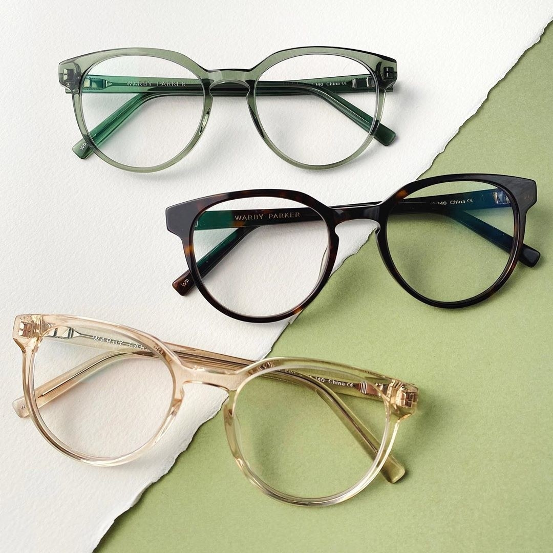 Three pairs of the glasses in different colours