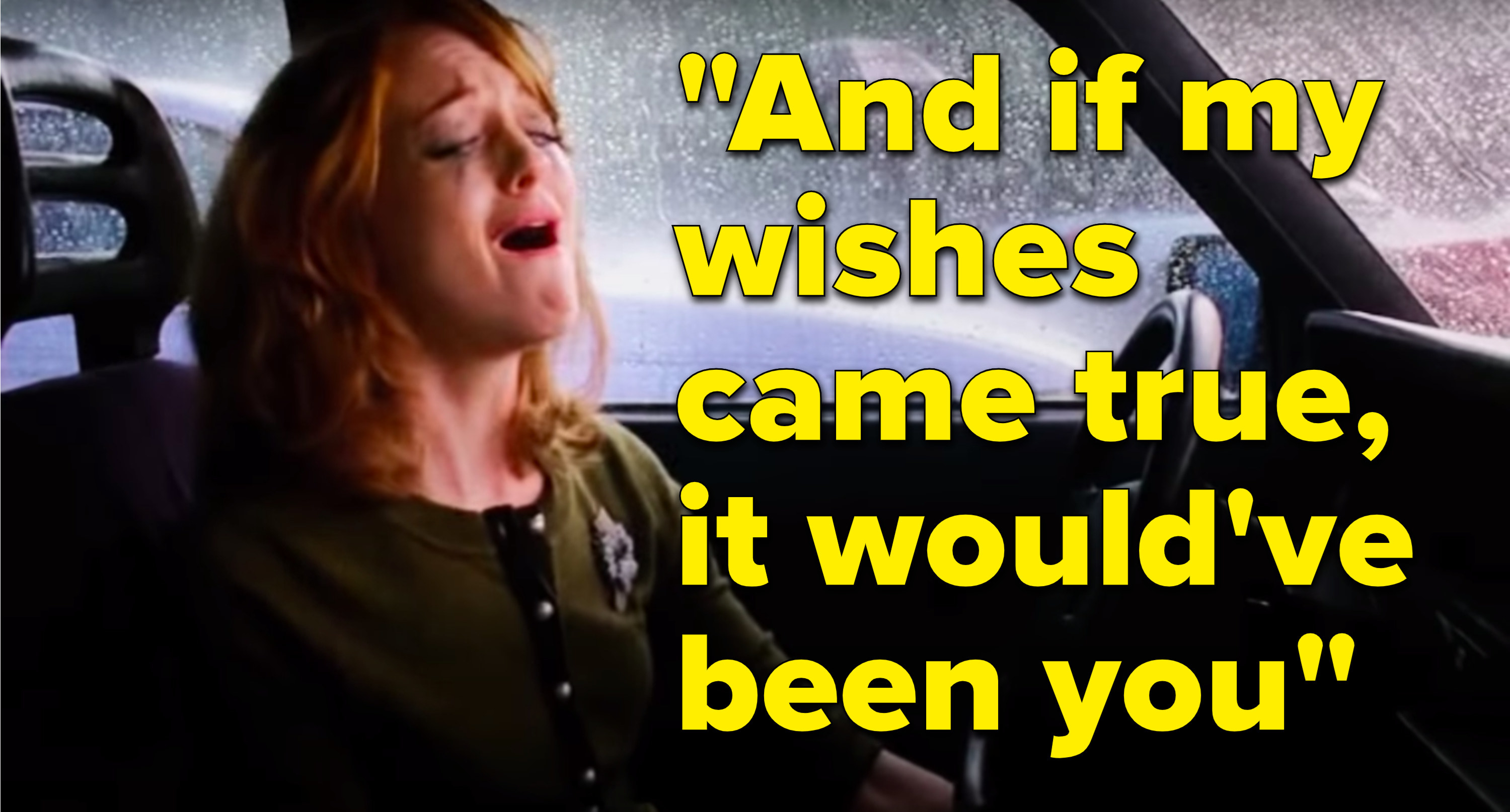 "Emma Pillsbury from Glee cries next to the lyrics, ""And if my wishes came true, it would've been you"""