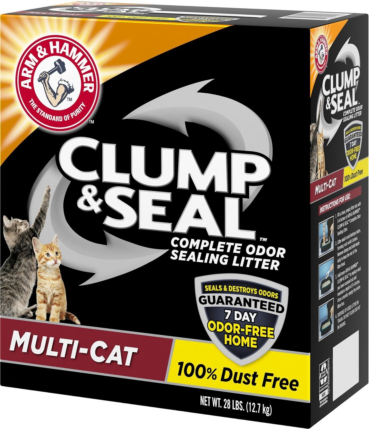 A box of the Arm & Hammer Litter Clump & Seal Multi-Cat Scented Clumping Clay Cat Litter