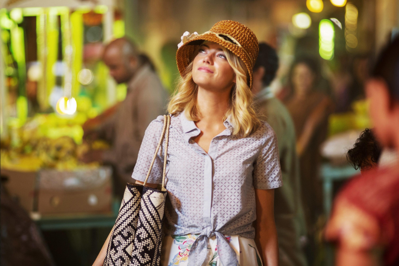 Emma Stone as Allison looking skyward.