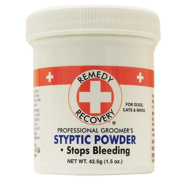 A jar of Remedy+Recovery Stop Bleeding Styptic Powder