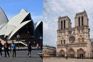 The Sydney Opera House and Notre Dame Cathedral