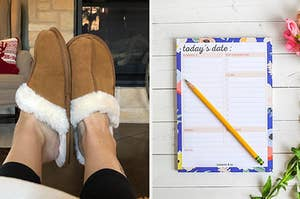 Fuzzy slippers and a to-do list pad