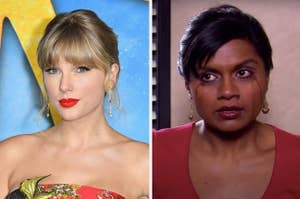 Taylor Swift next to the tear-stained face of Kelly Kapoor from The Office