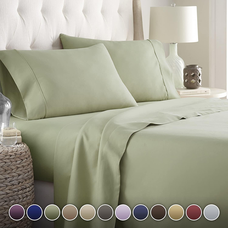 the sheet set in sage color