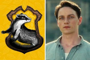 An image of the Hufflepuff crest and an image of James McAvoy from Atonement