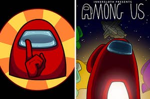 A red character from Among Us shushes the camera next to the game cover for Among Us