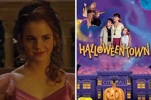 An image of Hermione Granger smiling next to a Halloweentown poster