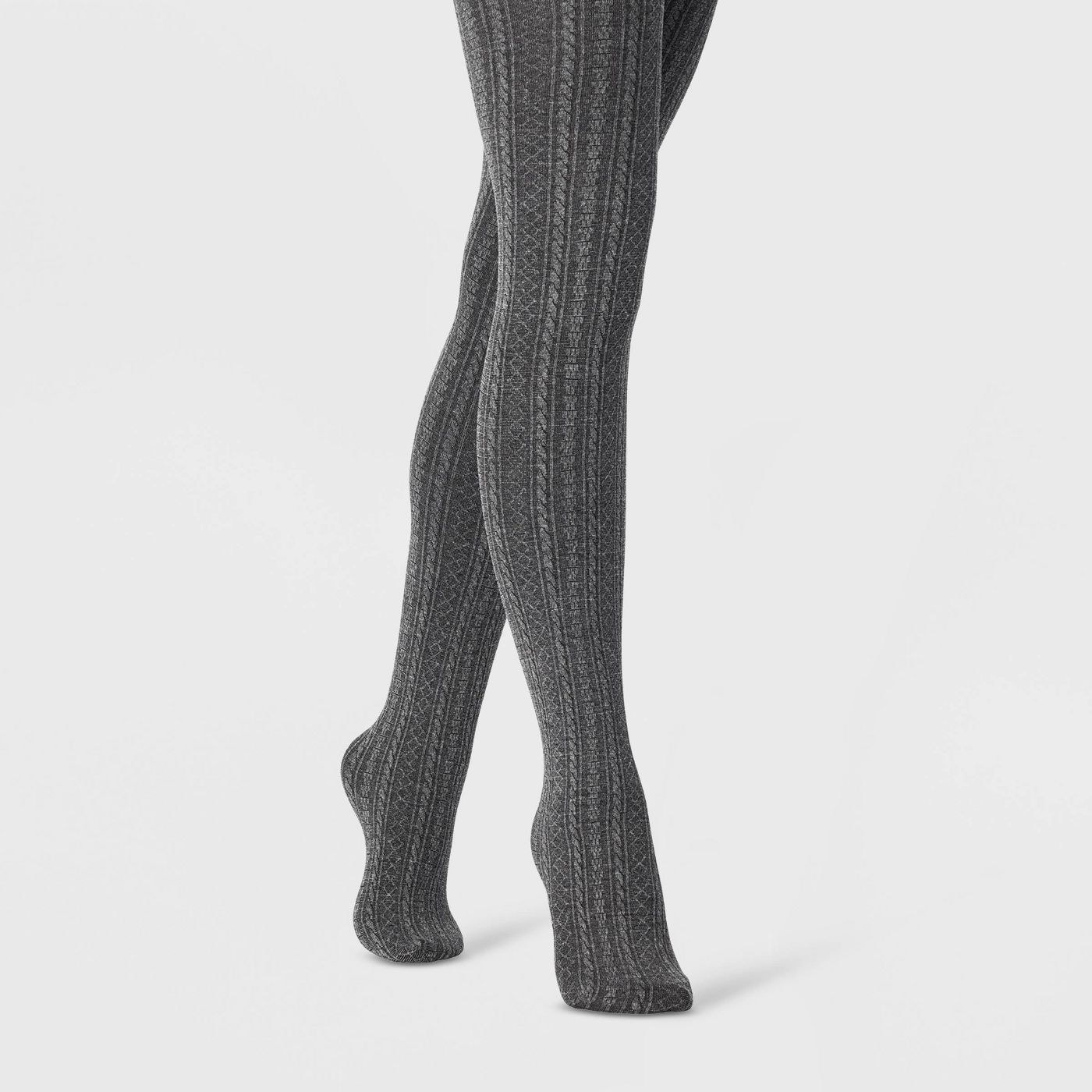 Model wearing the charcoal heather tights