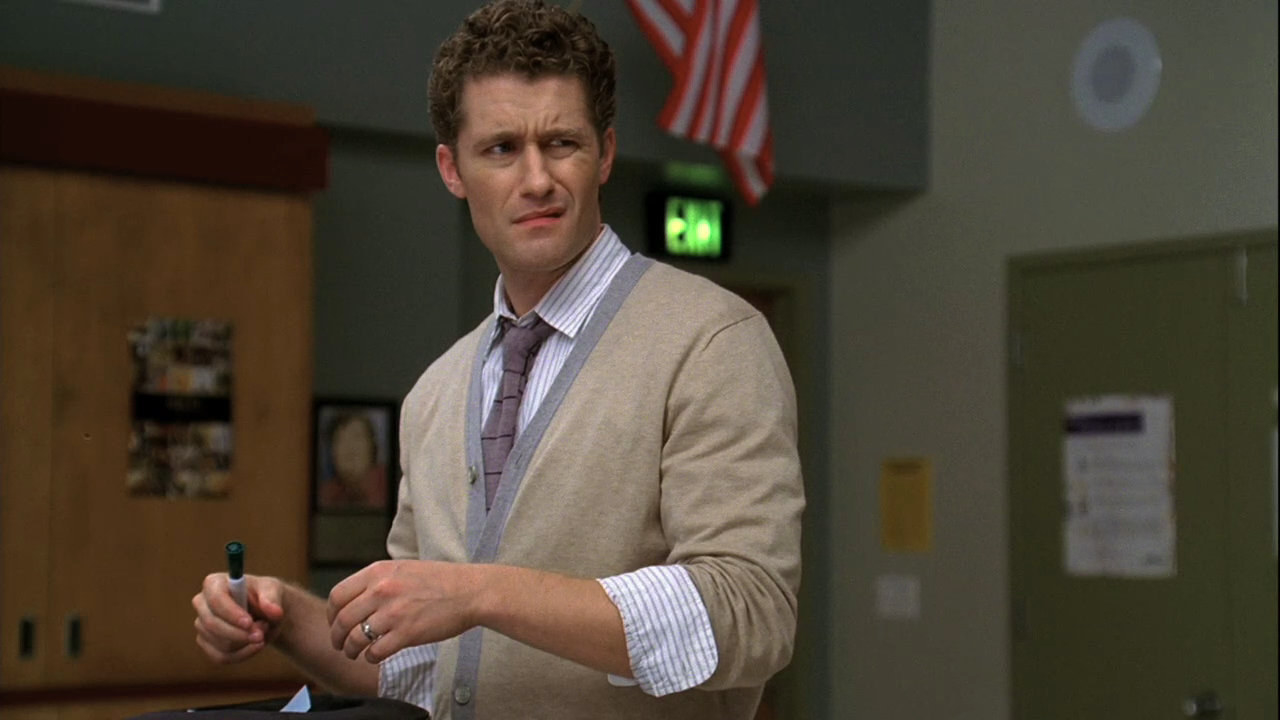 "Will from ""Glee"" with a confused expression on his face"