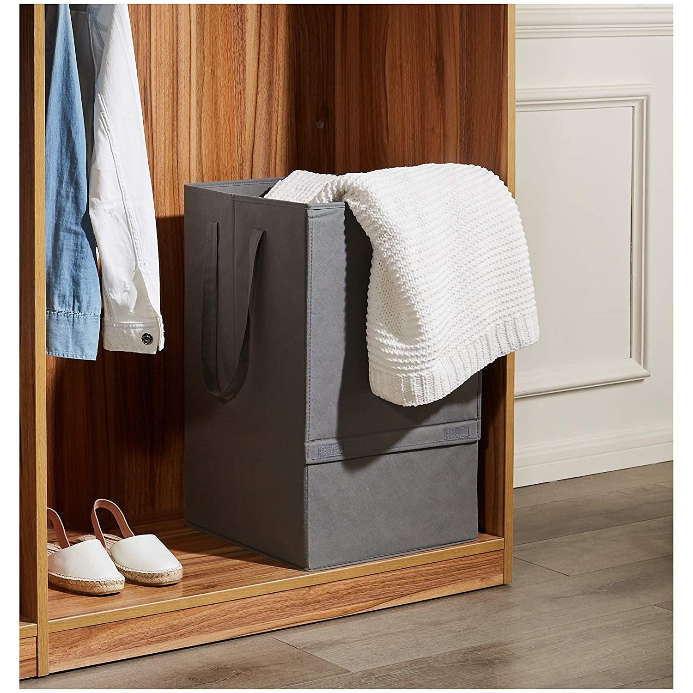 A grey laundry basket