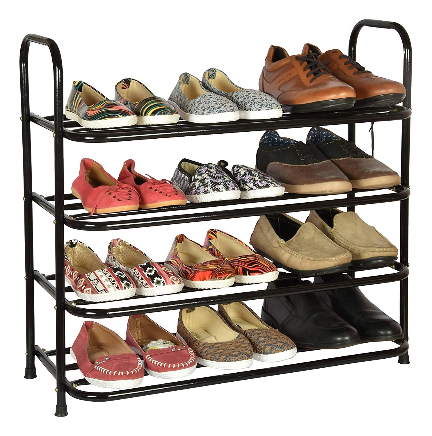 A shoe rack with shoes in it