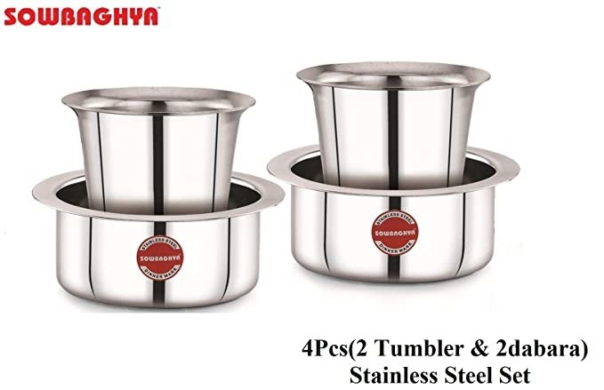 Two steel tumblers and two dabaras.