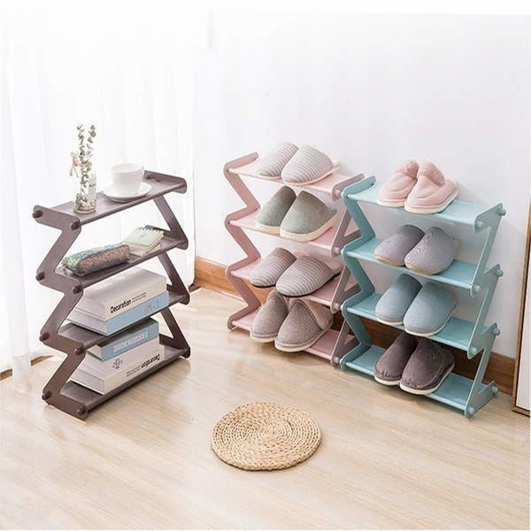Two collapsible shelves pictured with shoes and another collapsible shelf pictured with books and other tidbits.