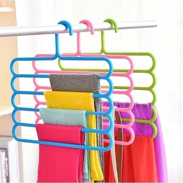 The 5-layered hangers pictured with clothes on them.