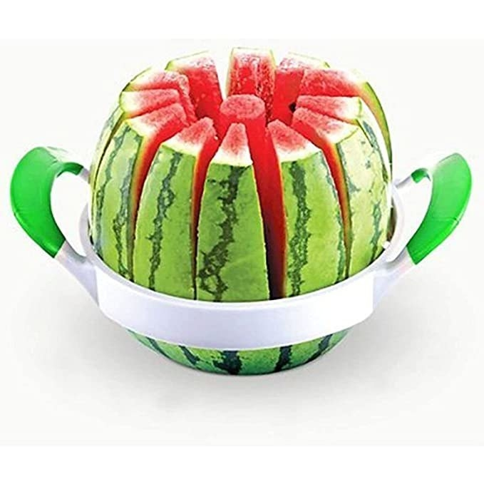 Watermelon cut into even slices with the slicer.