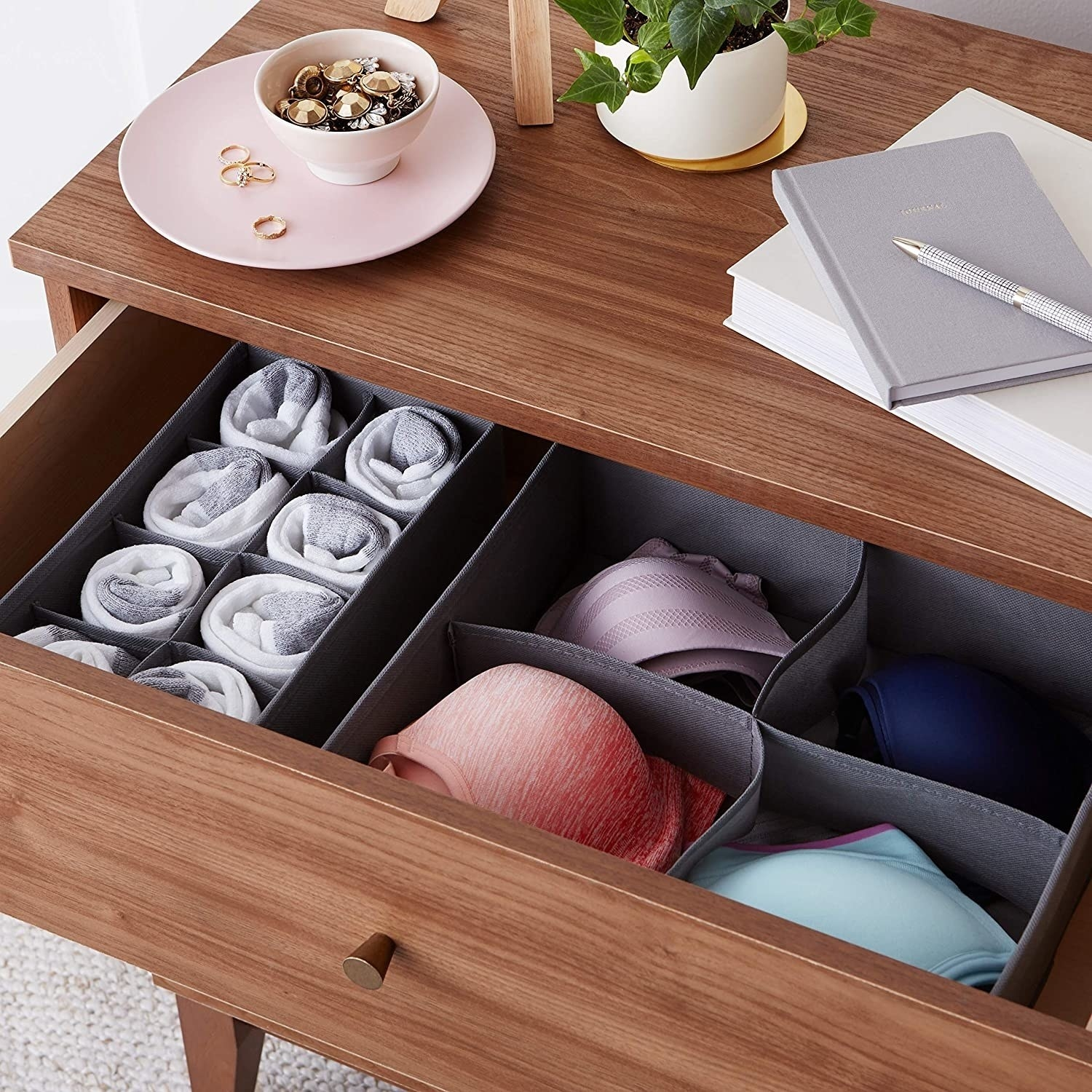 The drawer organisers pictured inside a drawer.