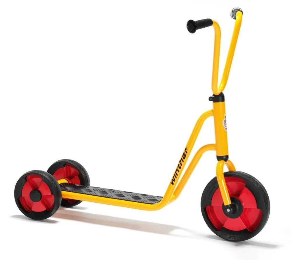 The scooter, which has a yellow body and red rims