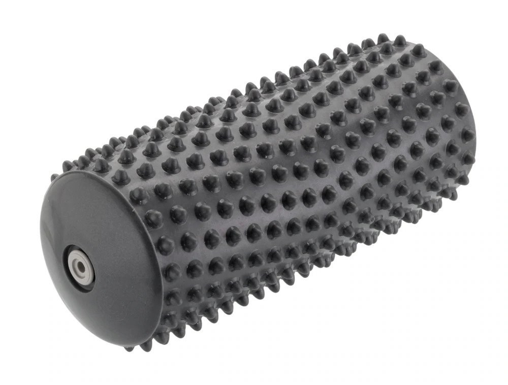 The gray massage roller, which has small bumps on it