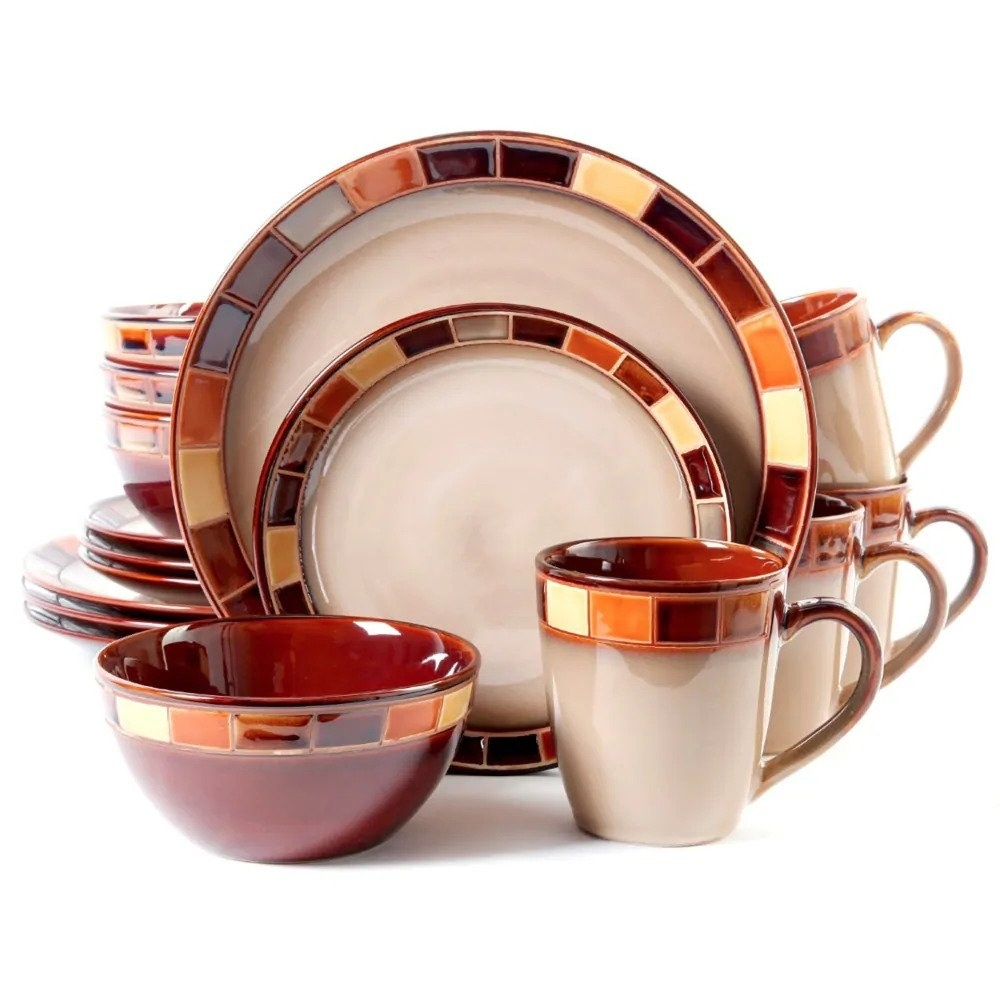 The beige and brown dishware set, which has a mosaic rim