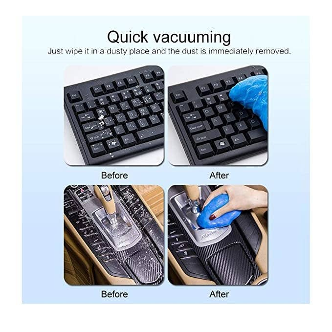 Cleaning jelly being used to clean keyboard and car interiors.