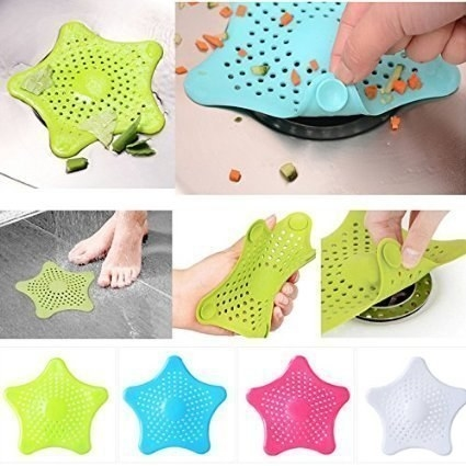 Multi-coloured star shaped silicone sink catchers.