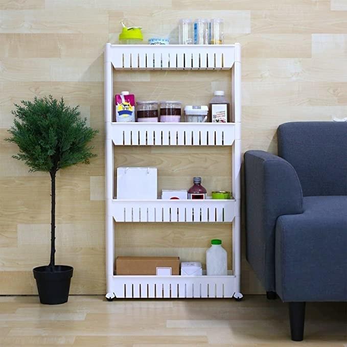 White four-tier kitchen storage shelf.