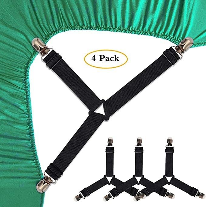 Black bedsheet suspenders.
