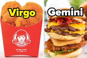 """Wendy's nuggets are labeled """"Virgo"""" with a burger labeled """"Gemini"""" on the right"""
