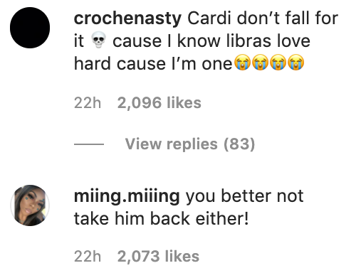 Fans warning Cardi not to take him back