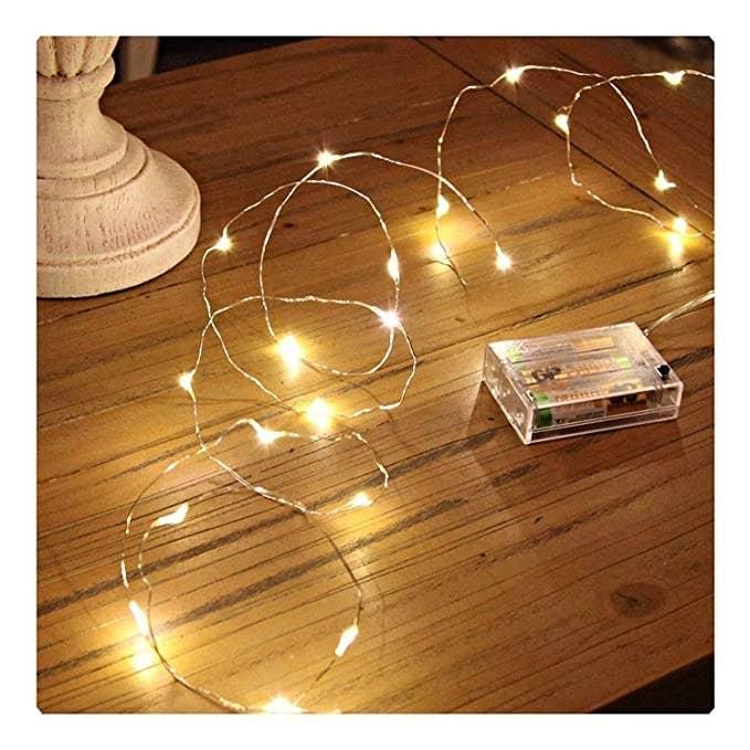Warm yellow string fairy lights.