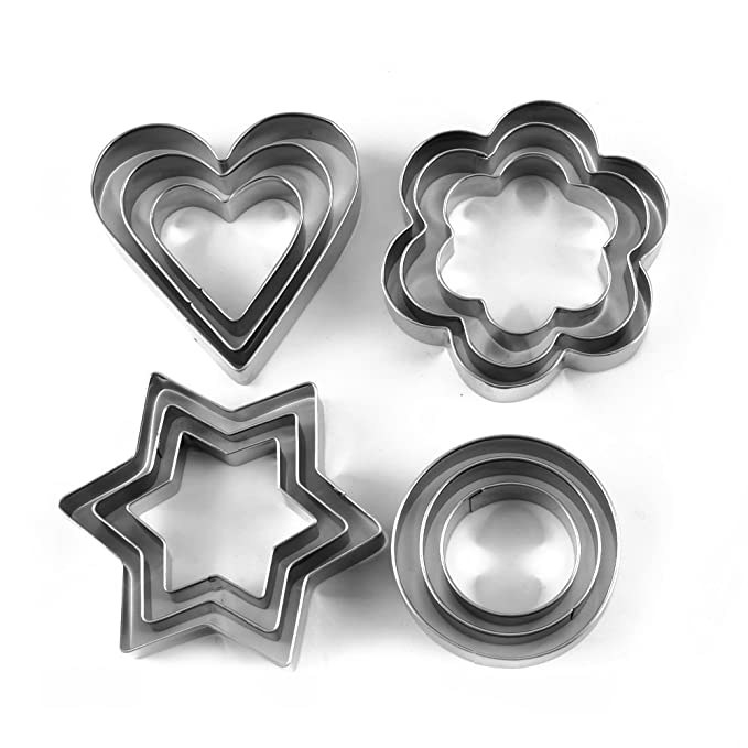 Star, heart, flower, and circle shaped cookie cutters in three different sizes each.