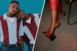 split image: on the left is a portrait of two black men staring at the camera, the man on the left is resting his head on the other persons shoulder, on the right is a women wearing snake print pants with open-toed shoes