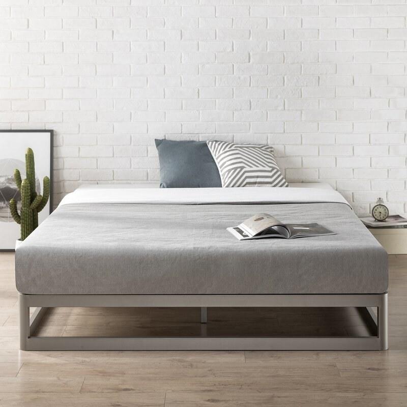 Grey steel bed frame