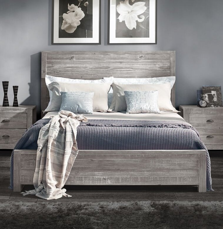 Gray wooden bed frame