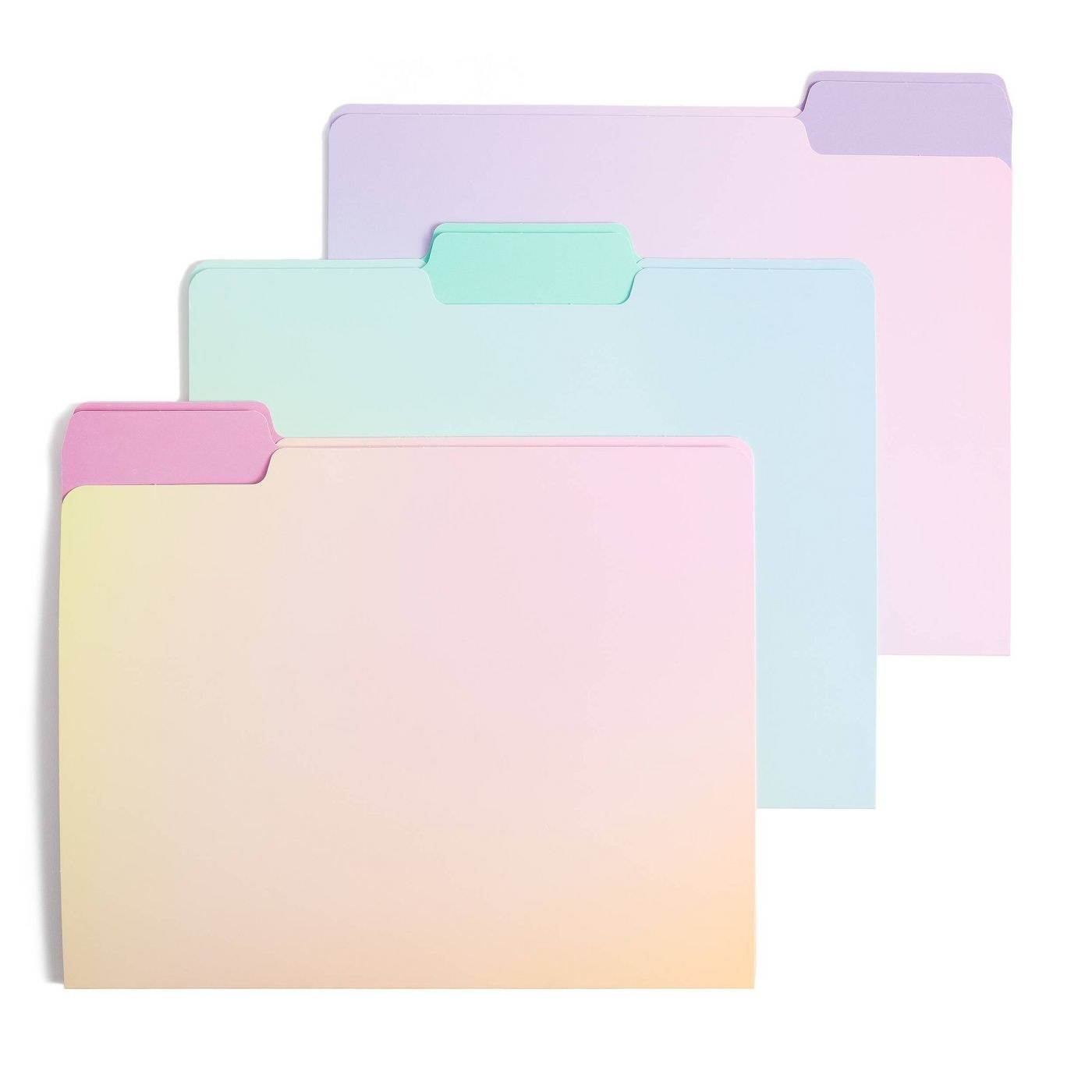 Three of the pastel ombre folders, which are standard letter size and have tabs at the top