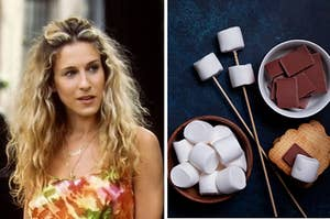An image of Carrie Bradshaw next to an image of a smores kit