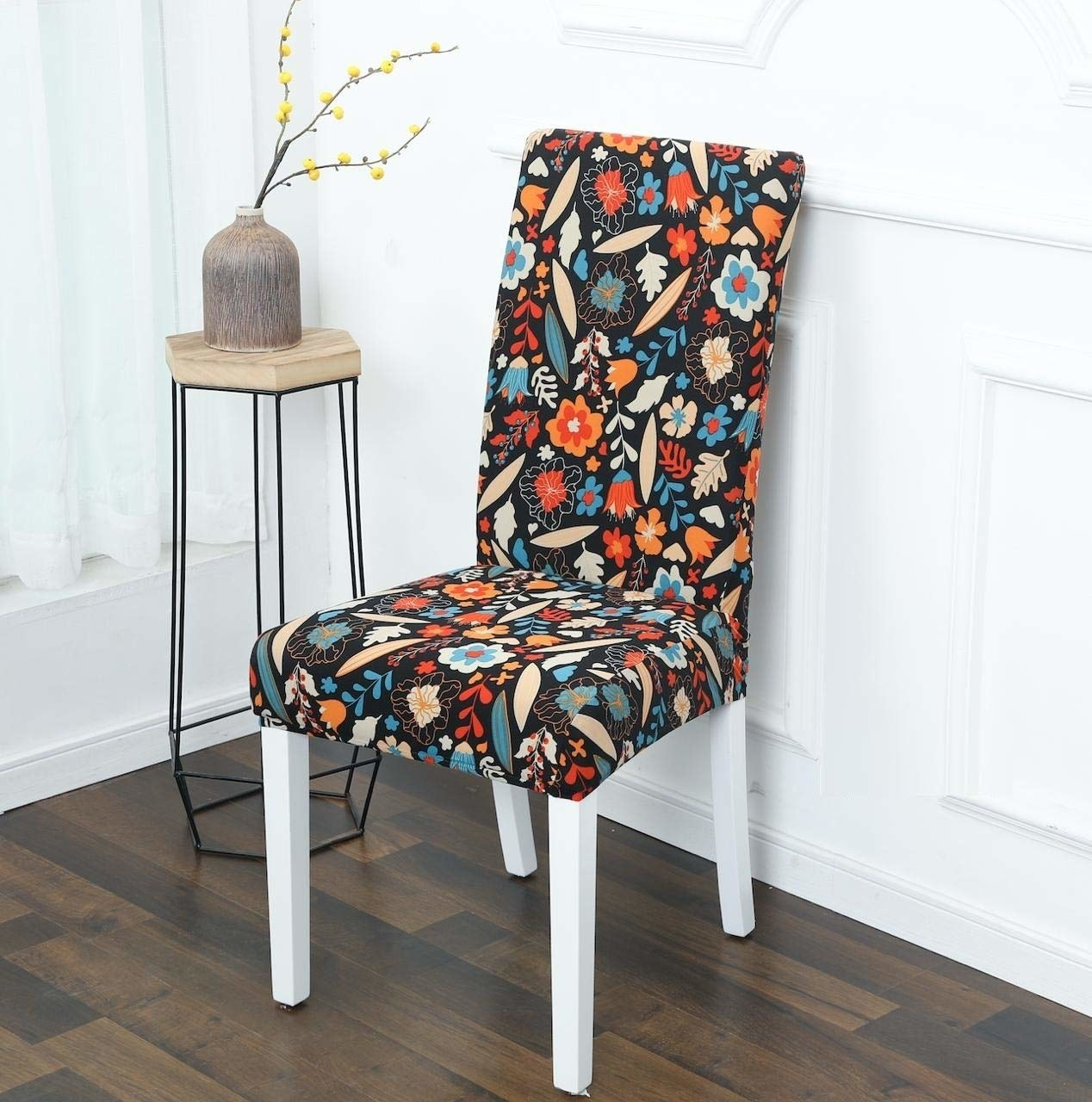 A floral chair cover