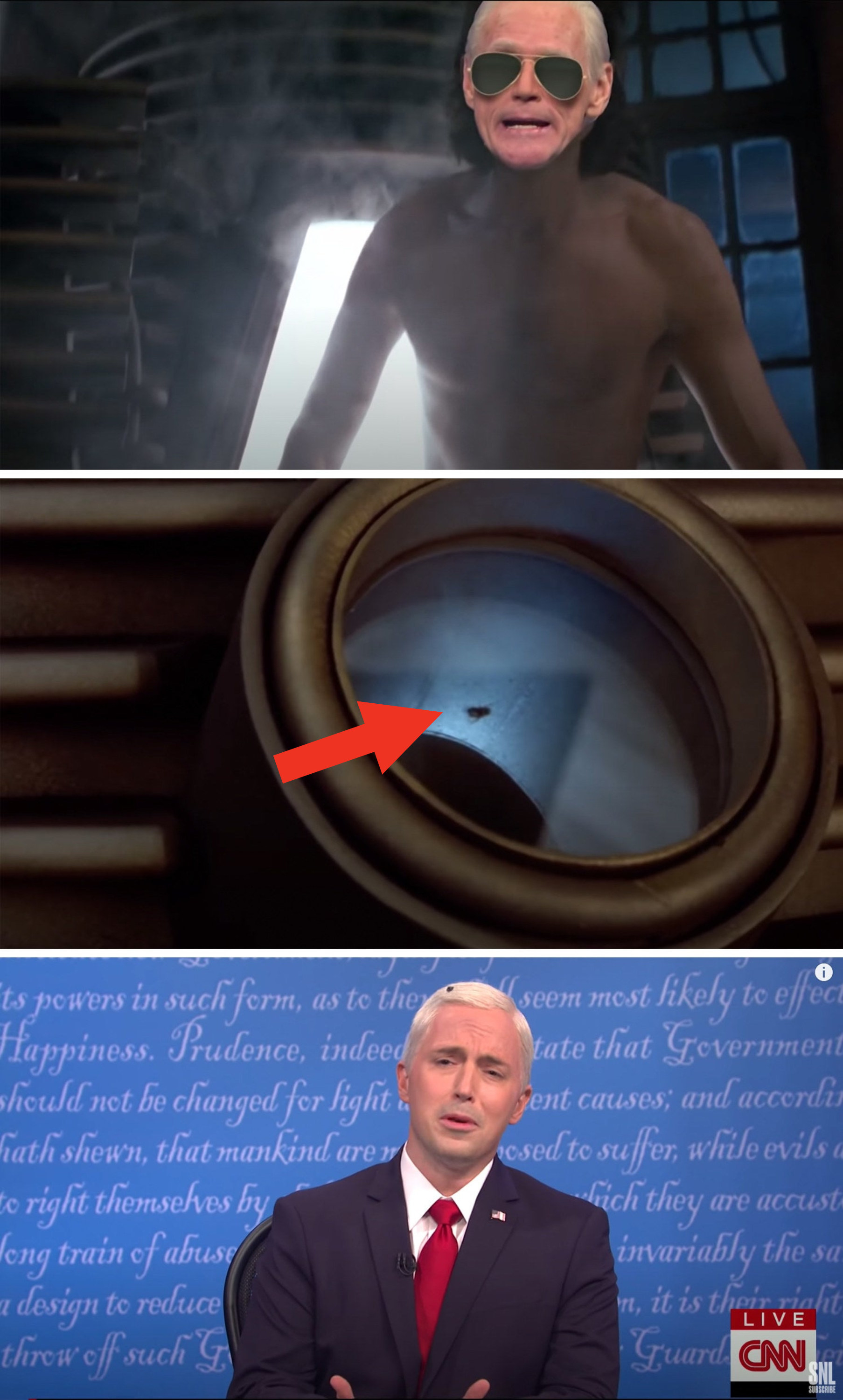 Biden in the machine, a fly in the machine, and the fly on Pence's head