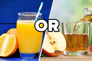 """A cup of orange juice is on the left with """"or"""" written in the center and apple juice being poured on the right"""