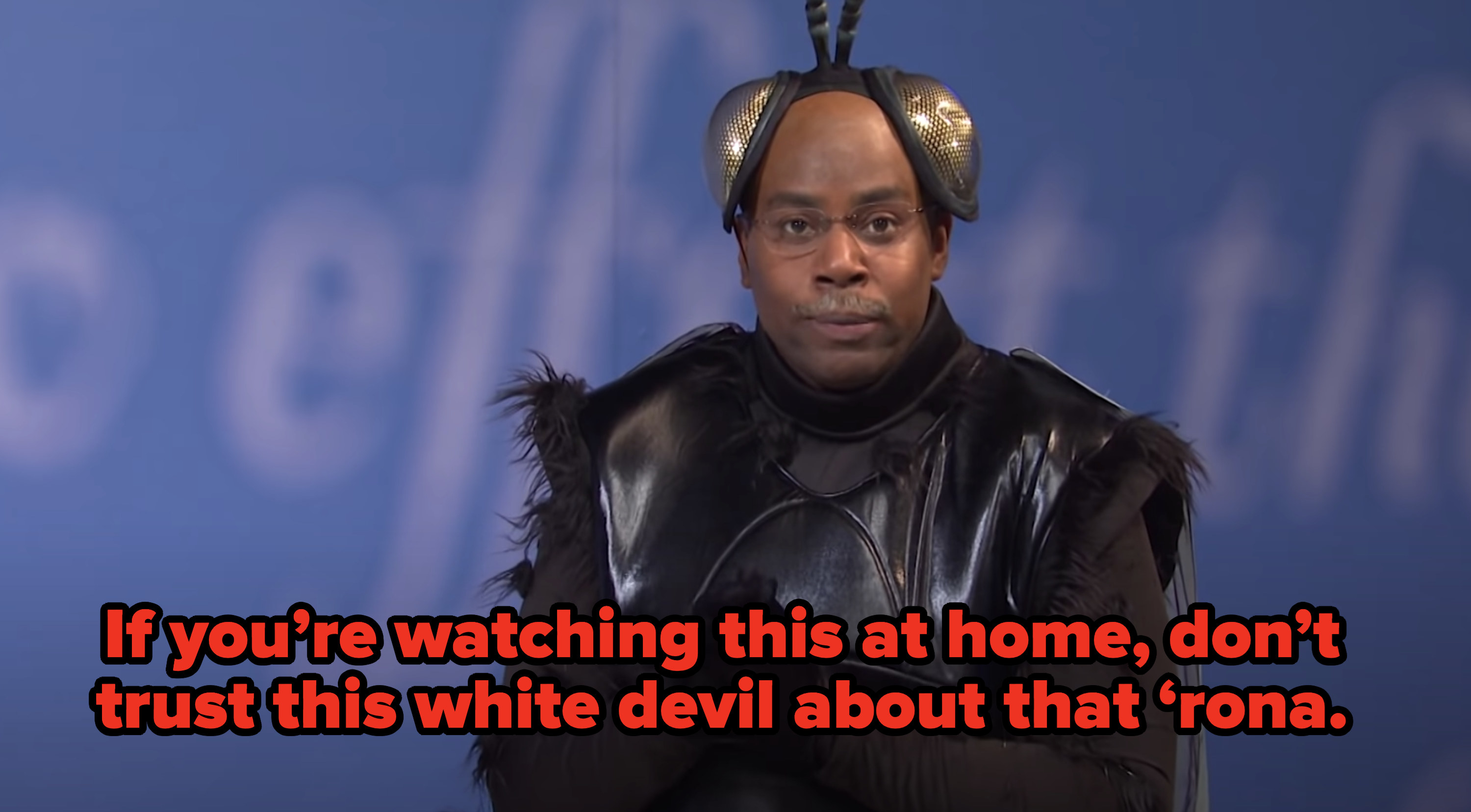 "Cain saying, ""If you're watching this at home, don't trust this white devil about that 'rona."""