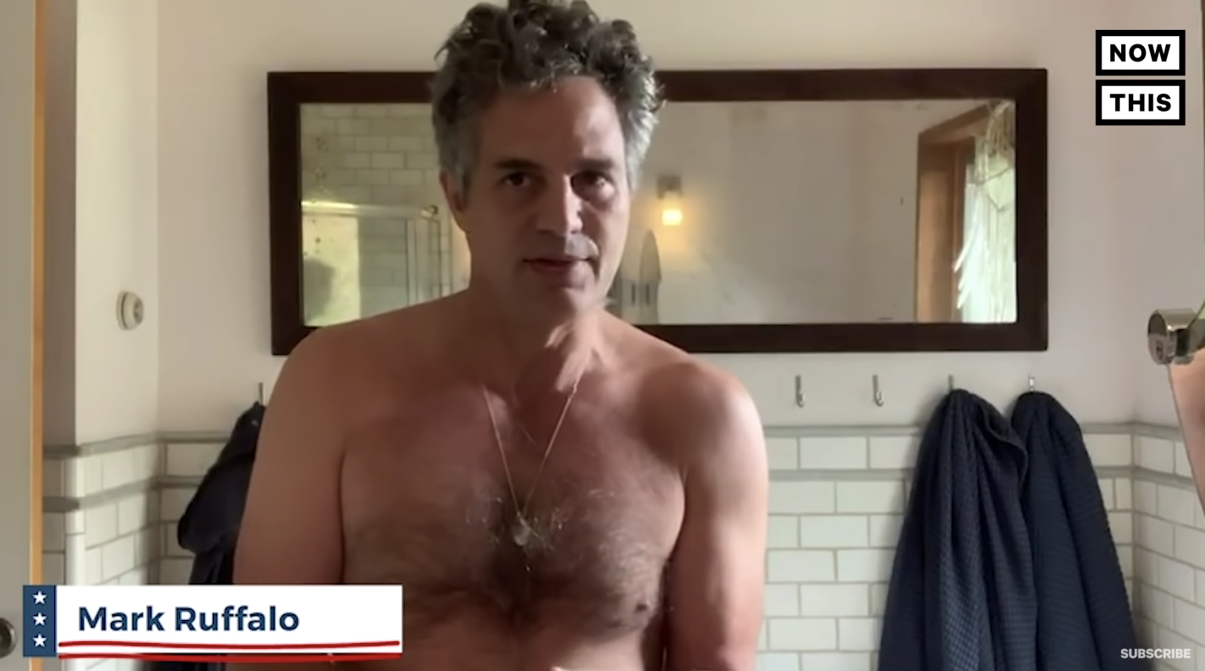 Mark Ruffalo shirtless telling us to send in ballots early