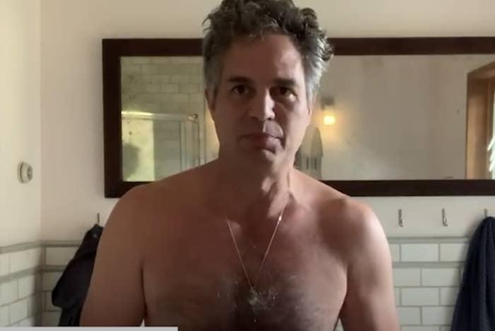 Mark Ruffalo shirtless in the NowThis PSA