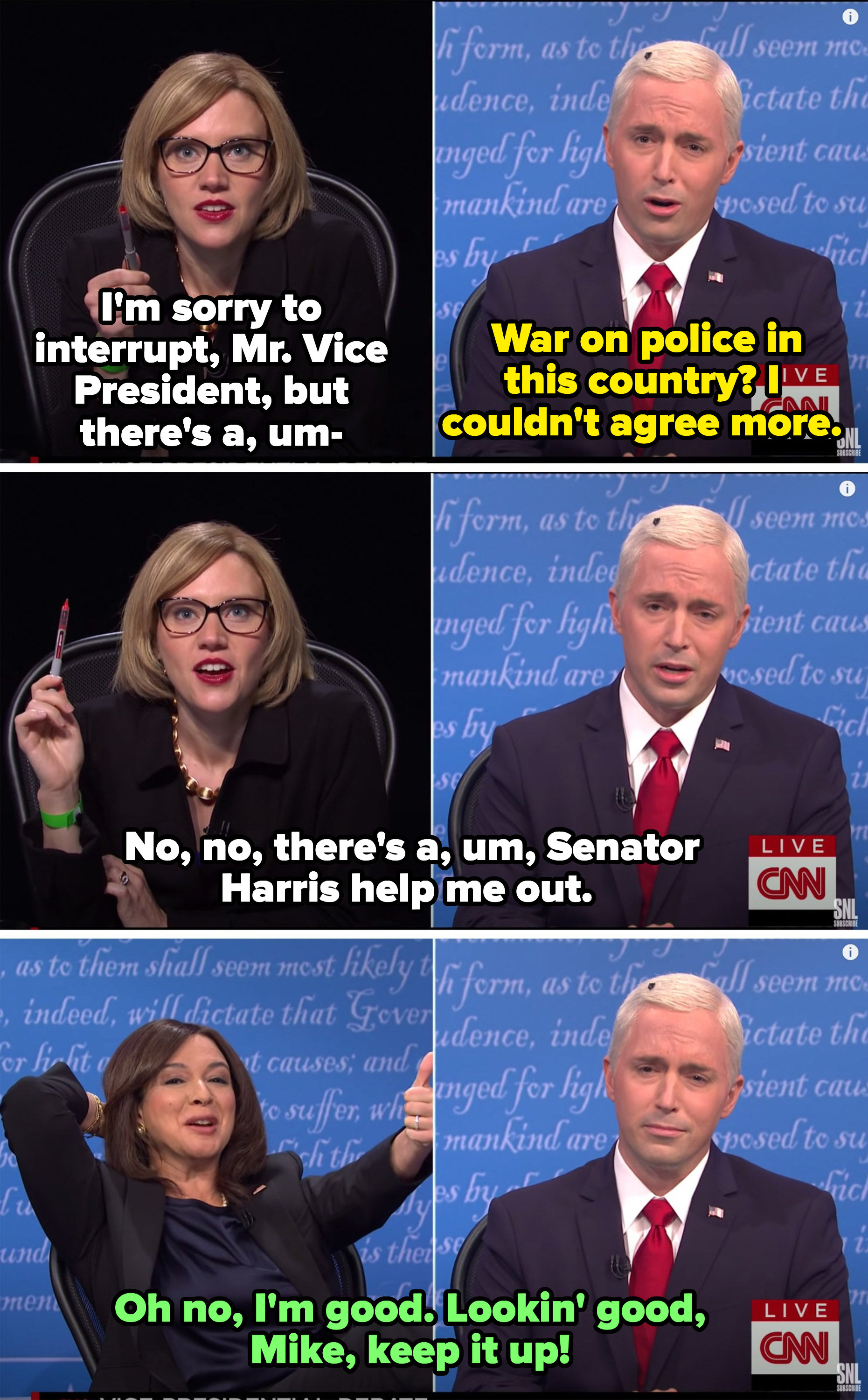 The moderator trying to subtly tell Pence about the fly on his head and Harris looking entertained